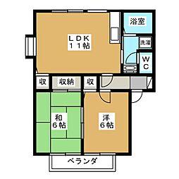 コートビレッジ下川俣B[2階]の間取り