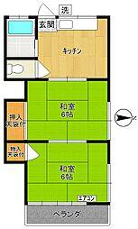 第二青木荘[206号室]の間取り