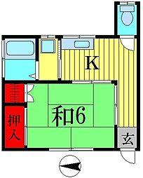 大川コーポ[103号室]の間取り