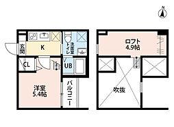 愛知県名古屋市南区三吉町3丁目の賃貸アパートの間取り