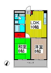 ミナモトマンションII[3階]の間取り