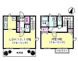 [テラスハウス] 神奈川県茅ヶ崎市小和田3丁目 の賃貸【神奈川県 / 茅ヶ崎市】の間取り