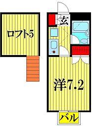 埼玉県越谷市西方2丁目の賃貸アパートの間取り
