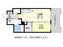 阪神本線 春日野道駅 徒歩6分の賃貸マンション 6階1DKの間取り