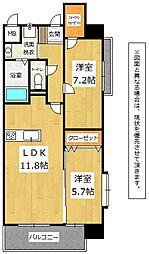 福岡県北九州市門司区大里新町の賃貸マンションの間取り