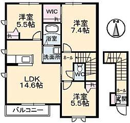 広島県福山市大門町5丁目の賃貸アパートの間取り