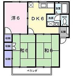 愛媛県伊予市上吾川の賃貸アパートの間取り