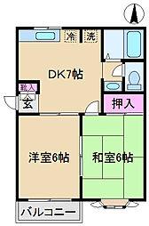 東京都北区西ケ原2丁目の賃貸アパートの間取り