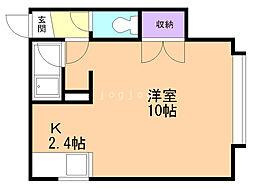 コート澄川A 2階1Kの間取り