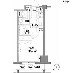 パークハビオ渋谷 4階1Kの間取り