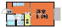 JR山陽本線 倉敷駅 バス27分 中浜下車 徒歩6分の賃貸アパート 2階1Kの間取り