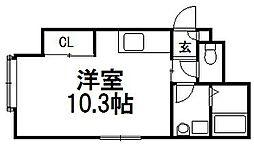 フロントアベニュー[105号室]の間取り