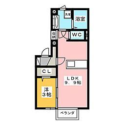 栃木県宇都宮市中岡本町の賃貸アパートの間取り