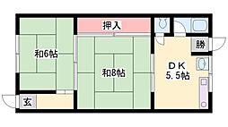 堀井荘 1号棟[1-6号室]の間取り
