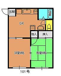 開地アパート[101号室]の間取り