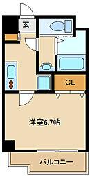 阪神本線 出屋敷駅 徒歩8分の賃貸マンション 8階1Kの間取り