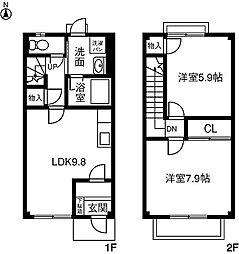 [テラスハウス] 愛知県小牧市北外山 の賃貸【/】の間取り
