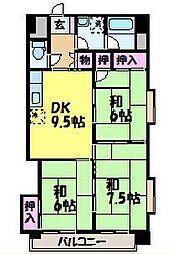 愛媛県松山市西石井1丁目の賃貸マンションの間取り