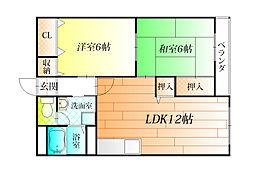 松村第一マンション[1階]の間取り