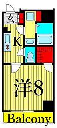 東京メトロ日比谷線 入谷駅 徒歩4分の賃貸マンション 2階1Kの間取り