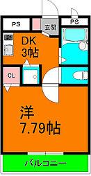 TAIHOレジデンス大日III 2階1DKの間取り
