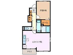 三重県四日市市蒔田2丁目の賃貸アパートの間取り
