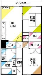 大宮土呂駅前ハイツ[402号室]の間取り