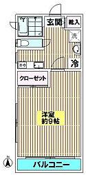 東京都目黒区鷹番1丁目の賃貸アパートの間取り
