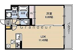 クレールK 1階1LDKの間取り