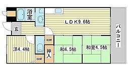 兵庫県姫路市三左衛門堀西の町の賃貸マンションの間取り