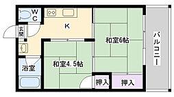 大阪府大阪市鶴見区鶴見1丁目の賃貸マンションの間取り