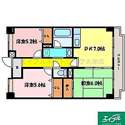 滋賀県大津市鏡が浜の賃貸マンションの間取り