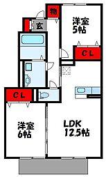 福岡県糟屋郡新宮町大字湊の賃貸アパートの間取り