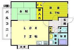 サンガーデン宮司A[2階]の間取り