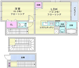 JR東北本線 南仙台駅 徒歩36分の賃貸アパート 3階1LDKの間取り