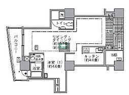アクティ汐留 43階1LDKの間取り
