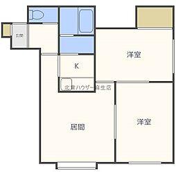 フラットK新川[3階]の間取り