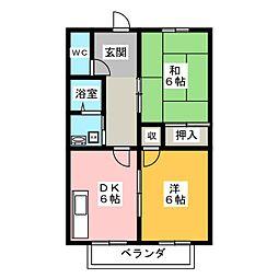 シャンポール紫野[1階]の間取り