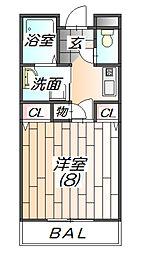 兵庫県三田市三輪2丁目の賃貸マンションの間取り