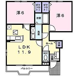 静岡県富士宮市舞々木町の賃貸アパートの間取り