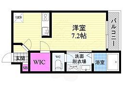 京阪本線 藤森駅 徒歩8分の賃貸マンション 1階1Kの間取り