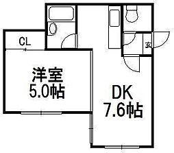 北海道札幌市豊平区平岸一条17丁目の賃貸マンションの間取り
