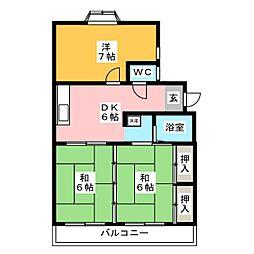 サンハイツ太宰府B[1階]の間取り