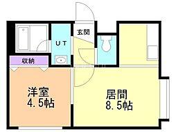メゾン・ド澄川 3階1LDKの間取り