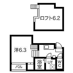 名古屋市営東山線 新栄町駅 徒歩11分の賃貸アパート 1階1Kの間取り