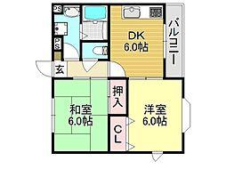 サンシャイン安田[2O1号室号室]の間取り
