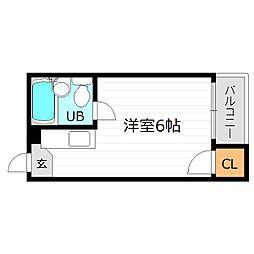 Osaka Metro長堀鶴見緑地線 蒲生四丁目駅 徒歩5分の賃貸マンション 4階ワンルームの間取り