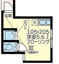 JR南武線 浜川崎駅 徒歩20分の賃貸アパート 2階ワンルームの間取り