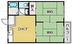 コーポ島井[102 a号室]の間取り