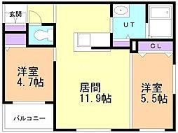CITY RESIDENCE 幌平橋 3階2LDKの間取り